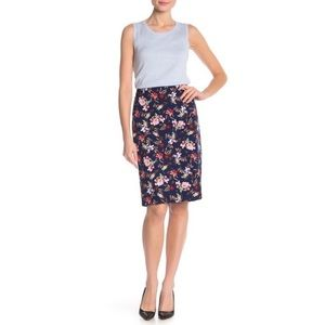 Philosophy pencil skirt, navy blue with flowers